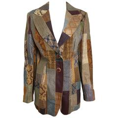 Roberto Cavalli Leather Multi Patterns Patchwork Blazer