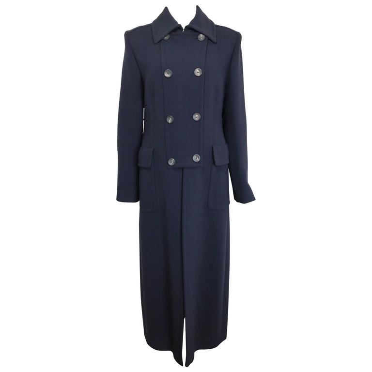 Gucci by Tom Ford Navy Wool Double Breasted Maxi Coat