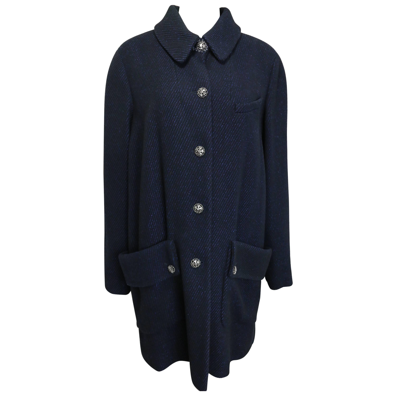 Chanel Black and Blue Tweed Wool Coat