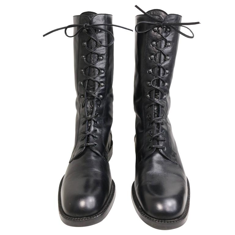 b0d4a3dbd Vintage 90s Black Leather Military Style Army Combat Lace Up Ankle Worker  Boots For Sale