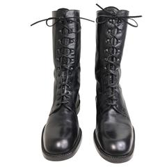 Vintage 90s Black Leather Military Style Army Combat Lace Up Ankle Worker Boots