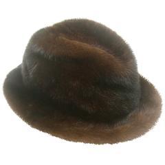 Adolfo Plush Mink Fedora Hat for Saks Fifth Avenue c 1970s