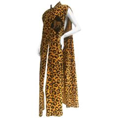 Exotic Cotton Velvet Maxi Vest for Saks Fifth Avenue c 1980s