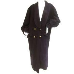 Jaeger London Dark Blue Wool Cocoon Coat c 1980s