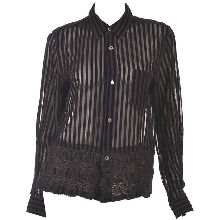 1990s Comme des Garcons Junya Watanabe Velvet Striped Blouse