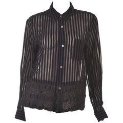 Comme des Garcons Junya Watanabe Velvet Striped Blouse, 1990s