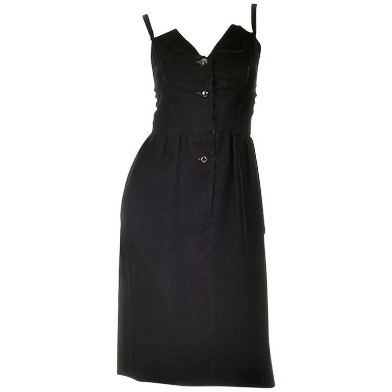 Givenchy Nouvelle Boutique Black Velvet Dress, 1970s  For Sale