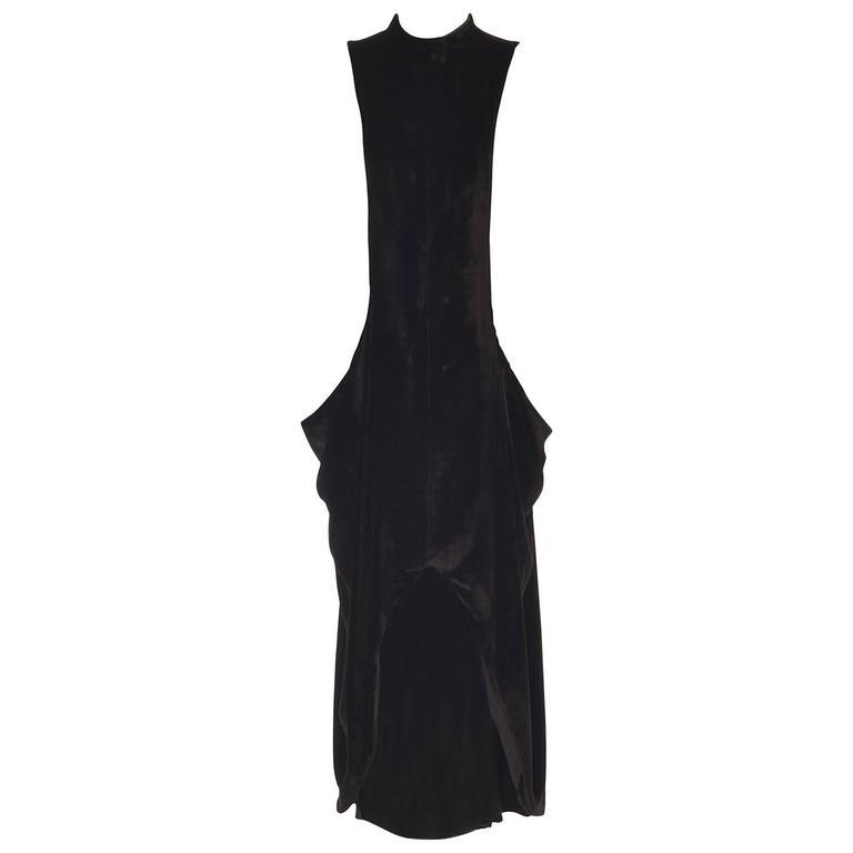 Vintage Isa Dorn Black Velvet Slouch Pinafore