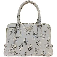 Prada Floral Print Signature Saffiano Leather Satchel With Shoulder Strap