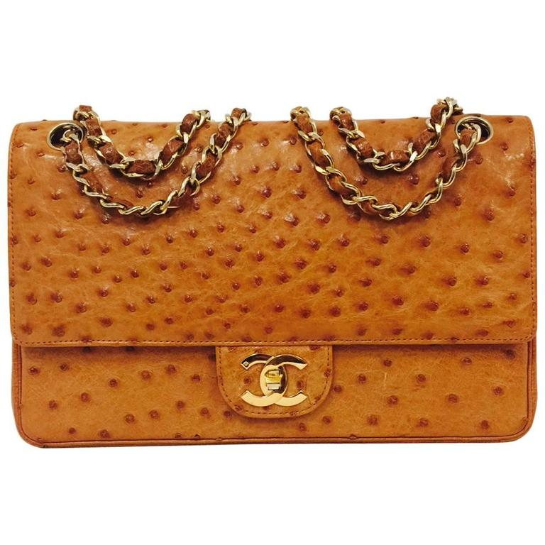 18f271b76e15 Vintage Chanel 1 Series Cognac Ostrich 2.55 Medium With Gold Hardware No.  120501 For Sale