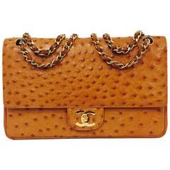 Vintage Chanel 1 Series Cognac Ostrich 2.55 Medium With Gold Hardware No. 120501