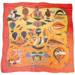 Hermes Giant Orange & Red Chiffon Les Folies du Ciel Shawl by Loic Dubigeon