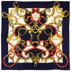 Hermes Navy Silk Jacquard L'Instruction du Roy Scarf by Henri d'Origny
