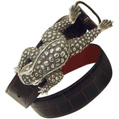 Klassic Kieselstein Cord Sterling Silver Frog Buckle on Alligator Belt