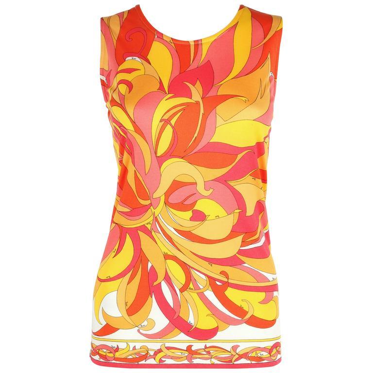 EMILIO PUCCI 1970s Orange Multicolor Floral Motif Silk Jersey Sleeveless Top For Sale