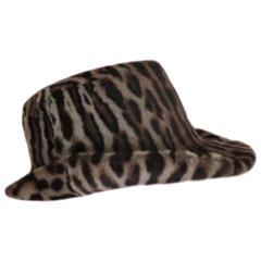 40's chic leopard fur print hat