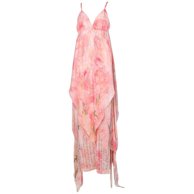 Vintage Chloe Hand Painted Silk Multi-Layered Gown w/Hand Written French Print