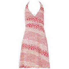 Chanel Red & White Floral Print Halter Dress w/CC Logo Motif