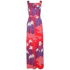 Hanae Mori Red, Blue, & White Floral Printed Maxi Dress