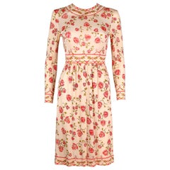 EMILIO PUCCI c..1970's Signature Print Floral Rose Silk Long Sleeve Dress Size 8