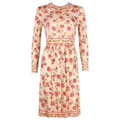 EMILIO PUCCI 1970s Signature Print Floral Rose Silk Long Sleeve Dress Size 8