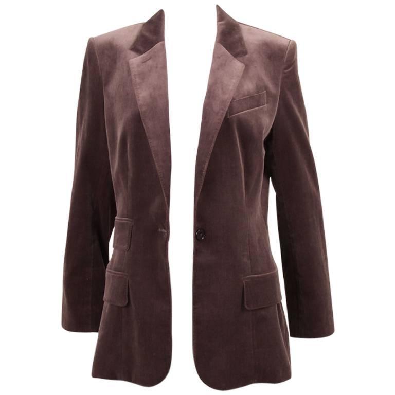 Vintage Hermes Purple Cotton Velvet One Button Long Blazer Size 42 1