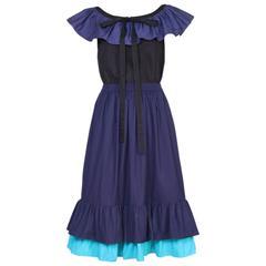Vintage Yves Saint Laurent YSL Color Block Blouse & Skirt Ensemble w/Ruffle Trim