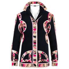 EMILIO PUCCI 1960s Black Geometric Signature Print Cotton Velvet Jacket Size 12