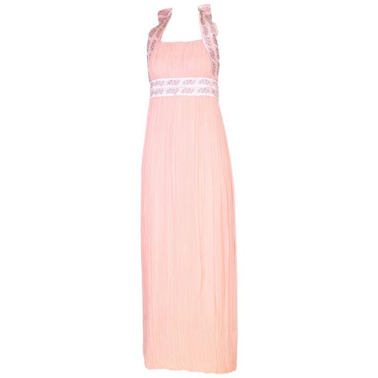 1970 Sarmi Pink Pleated Silk Chiffon Halter Gown W/Ribbon Bow Detail