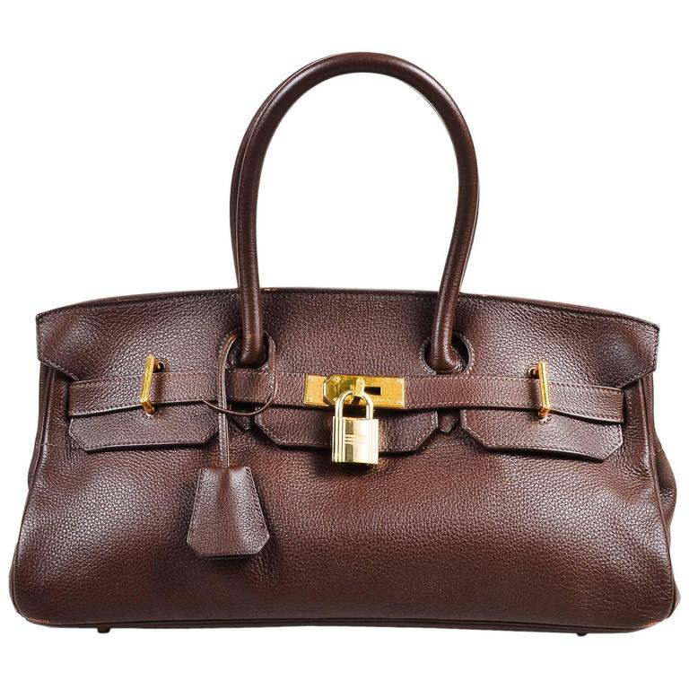 "Hermes ""Cafe"" Purple Clemence Leather GHW ""JPG Birkin"" Tote Bag 1"