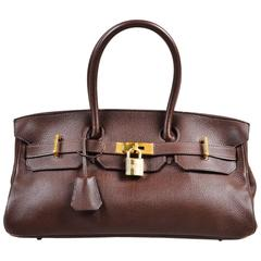 "Hermes ""Cafe"" Purple Clemence Leather GHW ""JPG Birkin"" Tote Bag"