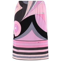 EMILIO PUCCI 1970s Pink Multicolor Geometric Striped Motif Silk Jersey Skirt