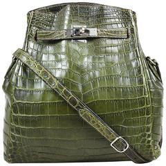 "Hermes Vert Olive Crocodile Niloticus Matte Palladium ""Kelly Sport 26"" Bag"
