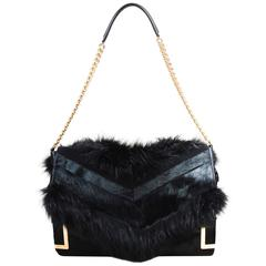"Jimmy Choo $2450 Black Fox Fur Pony Hair GHW Leather Chainlink Strap ""Ally"" Bag"