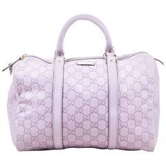 "Gucci Light Purple Leather Guccissima Logo Embossed ""Joy Boston"" Bag"