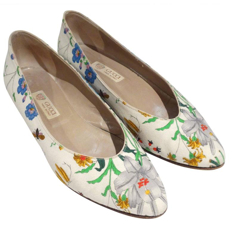 "1980s Gucci ""Flora"" Print Flats  For Sale"