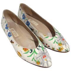 """1980s Gucci """"Flora"""" Print Flats"""