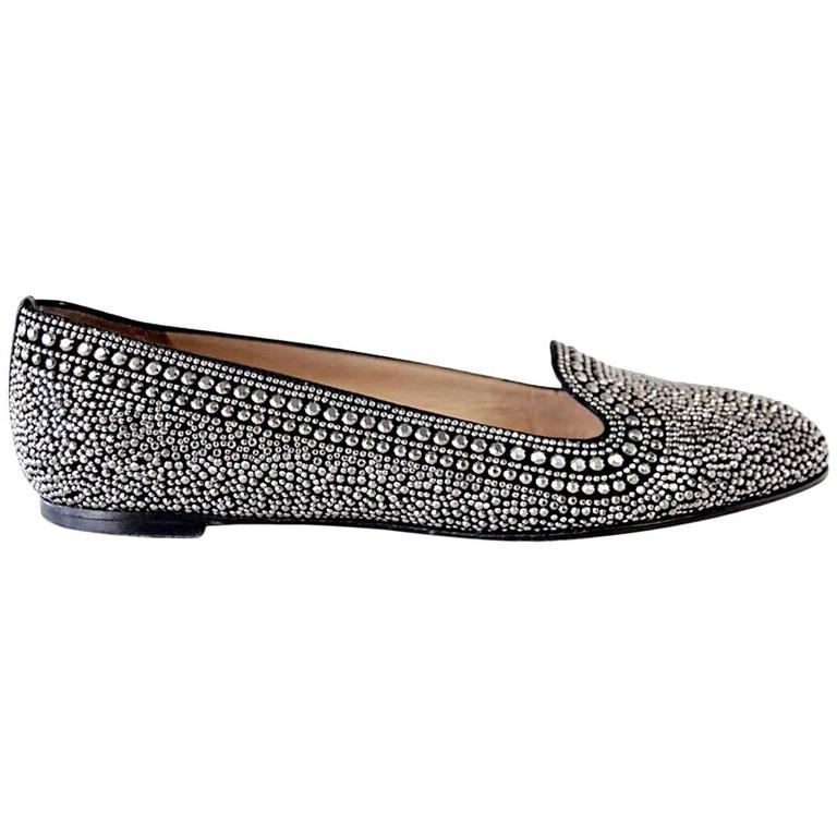 VALENTINO Shoe Black and Silver Studded Flat 38.5 / 8.5   1