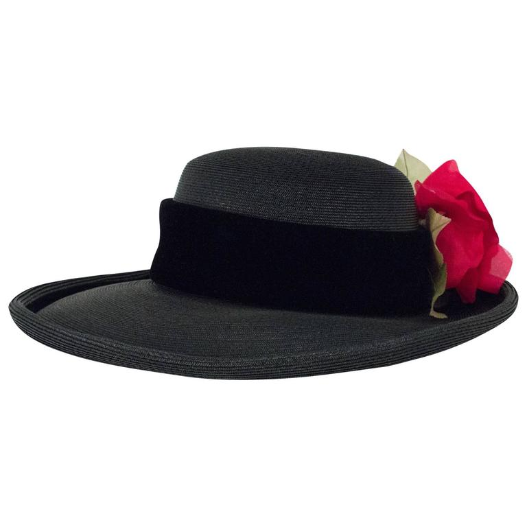 80s Christian Dior Black Straw Wide Brim Hat with Velvet Trim and Red Rose 1