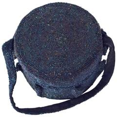 40s Blue Iridescent Round Beaded Handbag