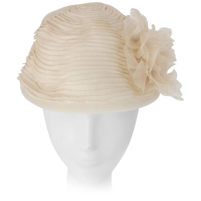 50s Schiaparelli White Organza & Horsehair Hat with Flower Adornment