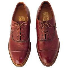 50s Mens Brown Cap Toe Lace Up Shoes with Lift