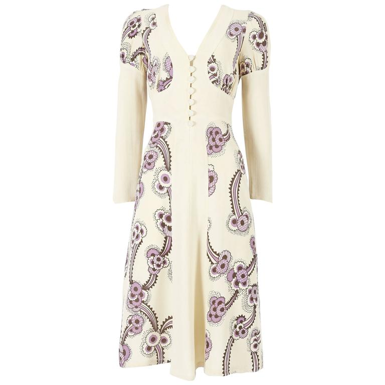 Ossie Clark ivory moss crepe 'Floating Daisies' dress, circa 1970s 1