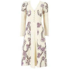 Ossie Clark ivory moss crepe 'Floating Daisies' dress, circa 1970s