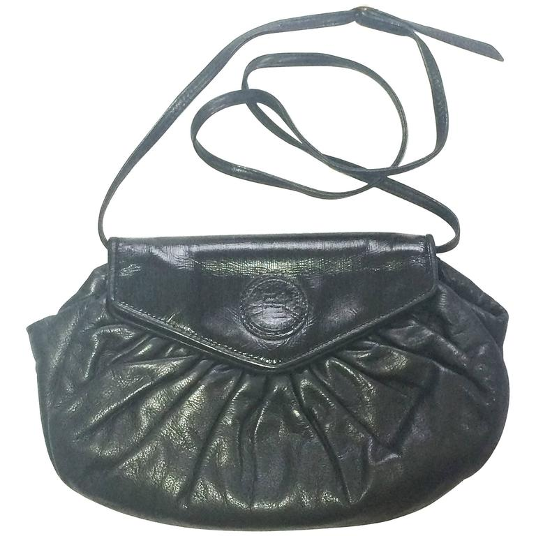 80's vintage FENDI black nappa leather shoulder purse. clutch, pouch bag