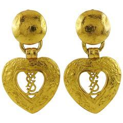 Yves Saint Laurent YSL Vintage Heart Logo Dangling Earrings