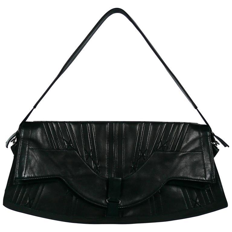 Jean Paul Gaultier Vintage Black Lambskin Corset Bag Clutch For Sale