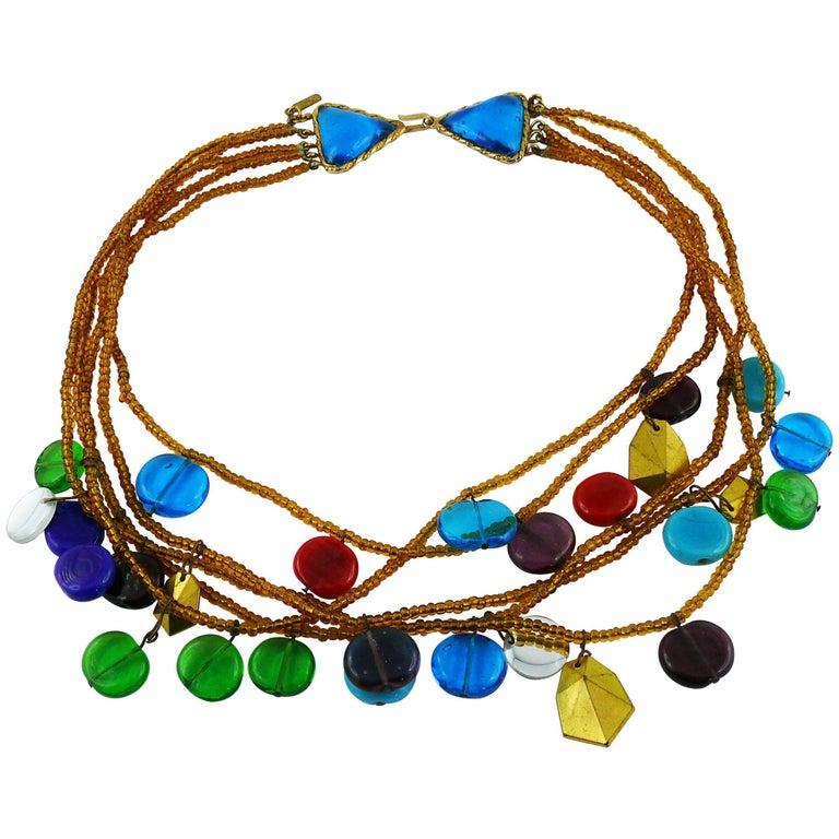 Yves Saint Laurent YSL Vintage Rare Pate de Verre Multi Strand Necklace For Sale
