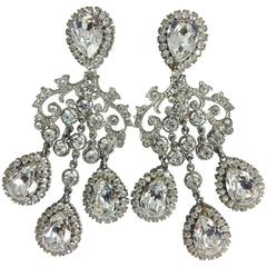 Massive chrystal rhinestone chandelier clip back earrings