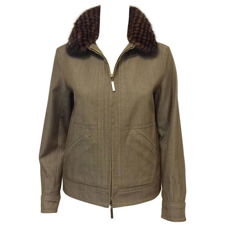 Louis Vuitton Autumn Wheat Denim Jacket W Removable Damier Mink Collar